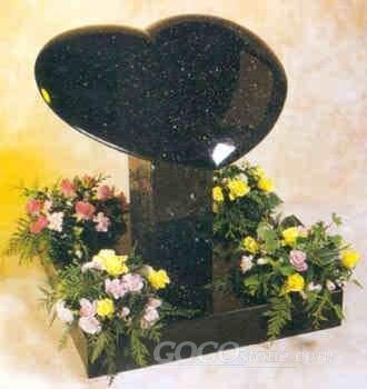 Butterfly Blue granite heart-shape monument