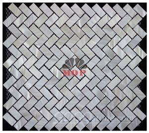 Chinese river rectangle board fiber mesh shell mosaic for bathroom
