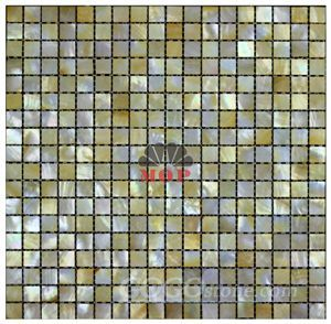 sea shell mosaic square mesh yellow lip shell for villa