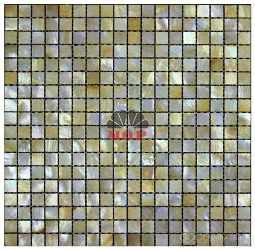 sea mosaic tile yellow lip shell backsplash
