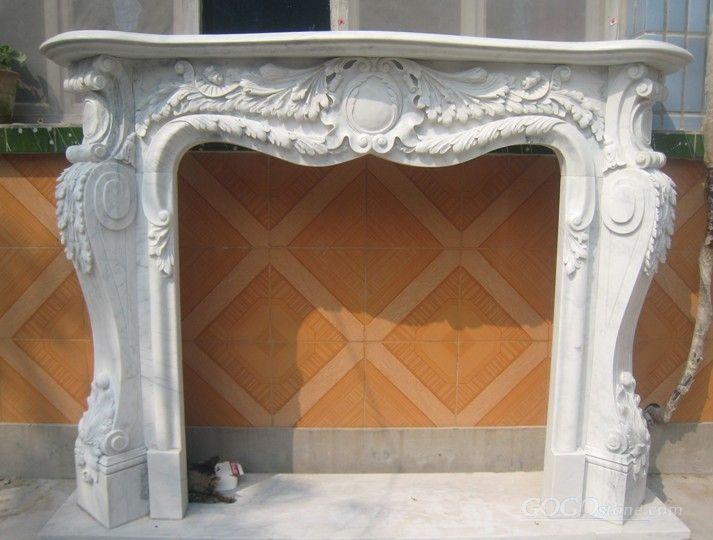Pure White Stone Fireplace