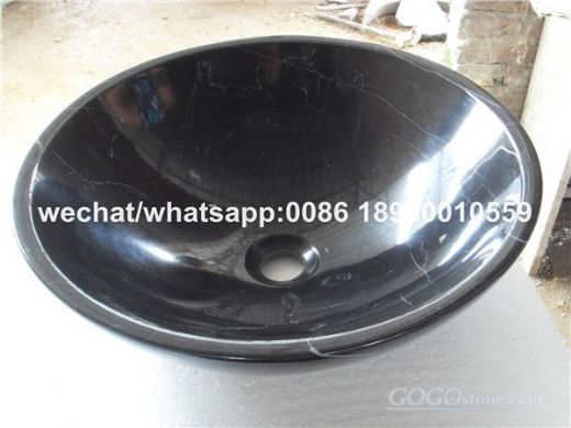Black Marquina Marble Round Wash Basin vessel sink