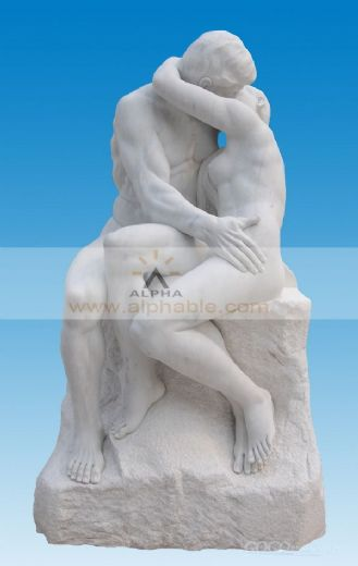 Greek outdoor statue of Rodin Kiss