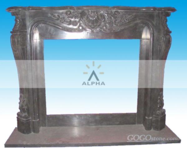 Black marble fireplce mantel