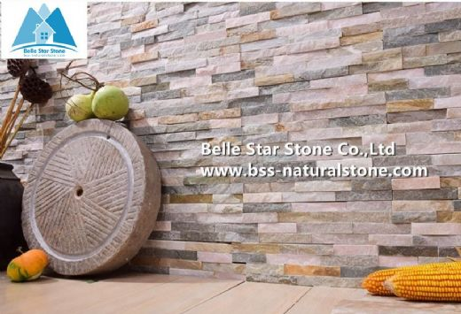 Yellow quartzite wall cladding,culture stone,ledgestone,stacked stone veneer