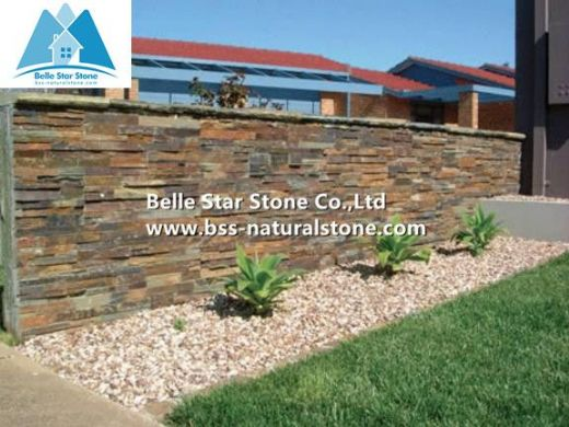 Multicolor slate culture stone,stacked stone veneer,ledgestone,wall cladding
