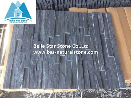 Black slate ledgestone,stacked stone veneer,culture stone,wall cladding