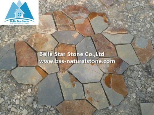 Multicolor slate flagstone,rust slate paving stone,slate flagstone patio,flagstone pavers