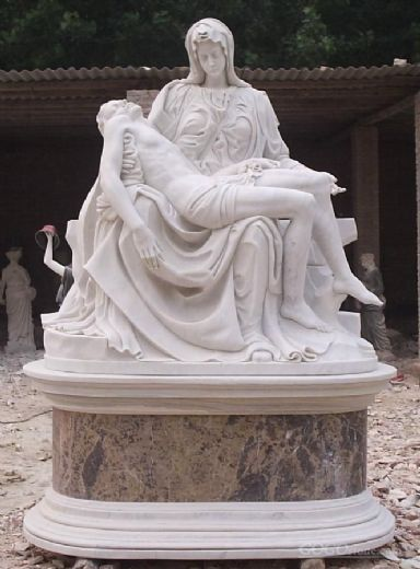 Mary Holding Jesus marble statue
