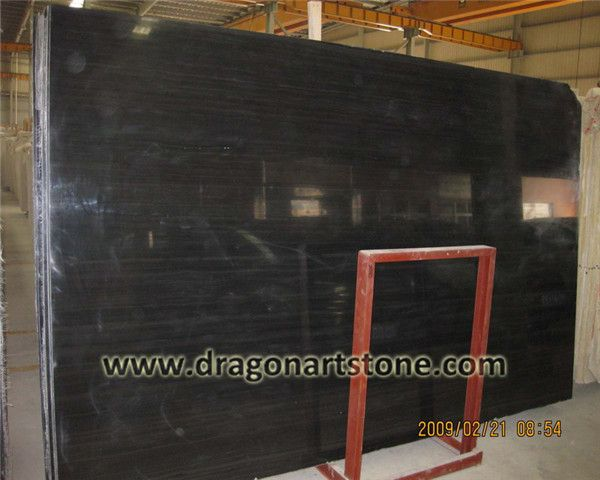 Black wood grain marble slab