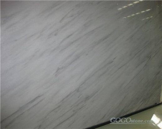 Cloudy white marble polished slab