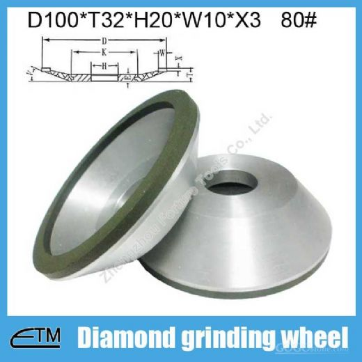12A2 Resin bond bowl shape diamond grinding wheel for tungsten carbide Chinese manufacturer
