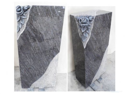 Bahama Blue Flower Design Granite Monument Supplier