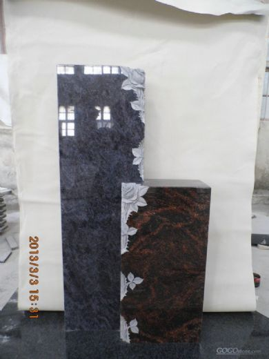 Bahama Blue and Aurora Flower Engraving Granite Monument