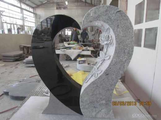 Hollow Heart Design Granite Monument HB
