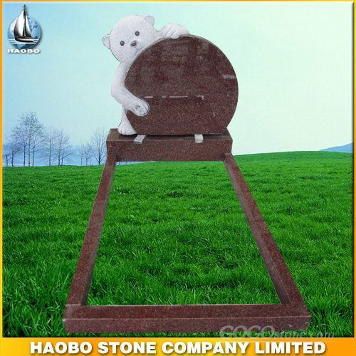 Bear Carving Red Granite Headstone Monument Wholesale