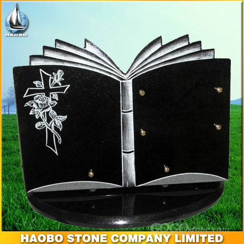 book shape tombstone plaque