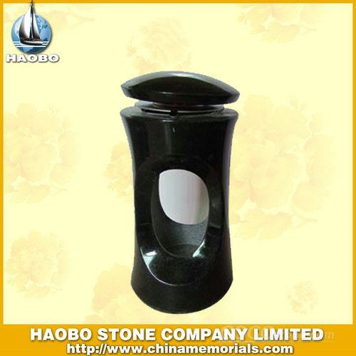 Black Granite Candle Lamp for Cemetery