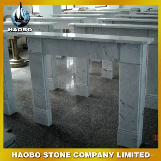White Marble Simple Cheap Fireplace