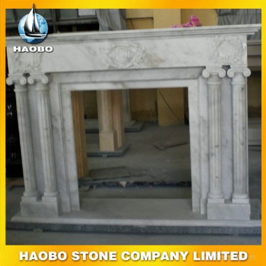 White Marble Hand Made Fireplace