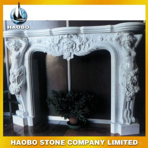 White Marble Stone Fireplace Carving