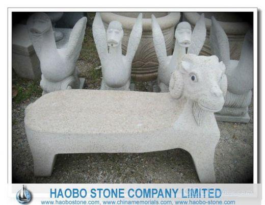 Sheep Carved G682 Granite Bench