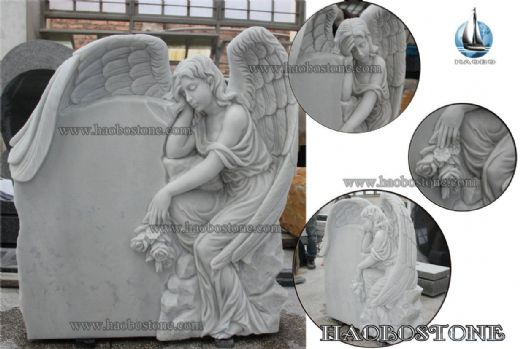 China White Marble Angel Memorial Stone Headstone