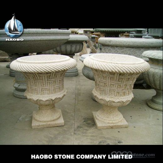 Yellow Granite Stone Flower Pot, Granite Planter