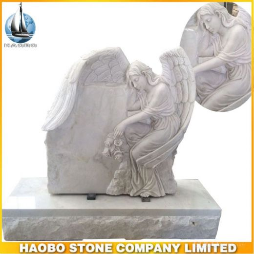 Hunan White Marble Angel Carved Tombstone