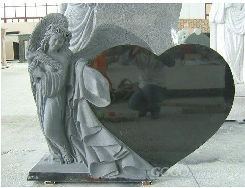 angel heart headstone