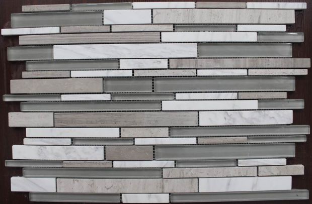 Wooden Grey, Glass Mosaic