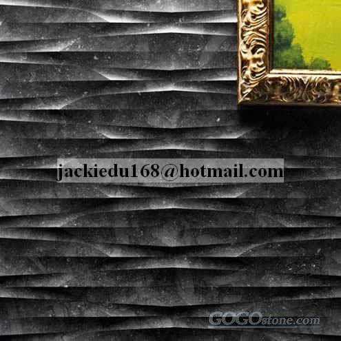 3D CNC Black Marble Stone Panel