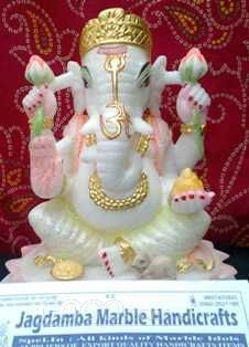 Outdoor white marble ganesha statue