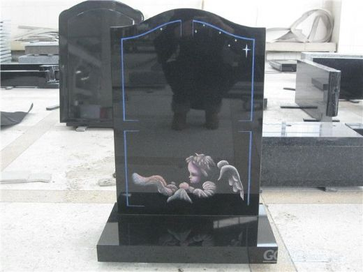 UK style black granite ogee headstone with angel engraving