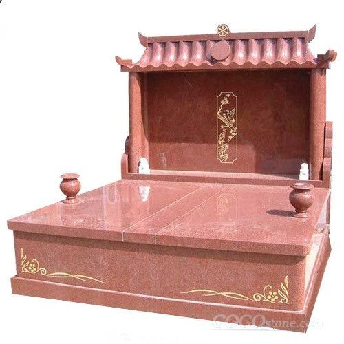 Indian imperial red granite chinese style tombstones