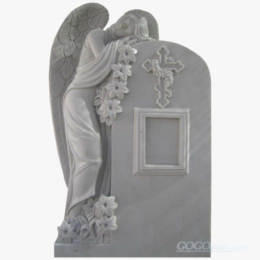 White Marble Weeping Angel Tombstones and Monuments