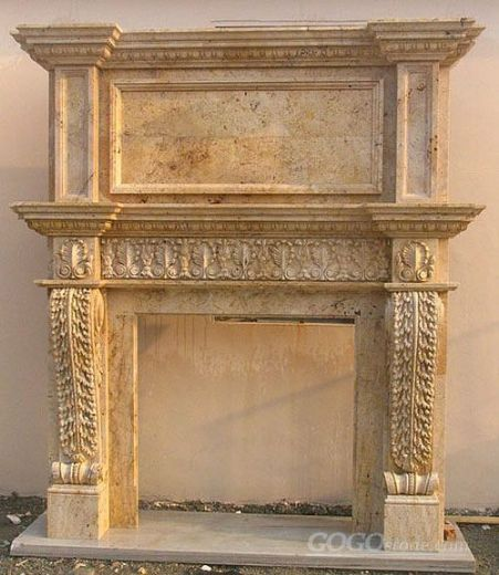 Double Marble Fireplace Of Carved Flower