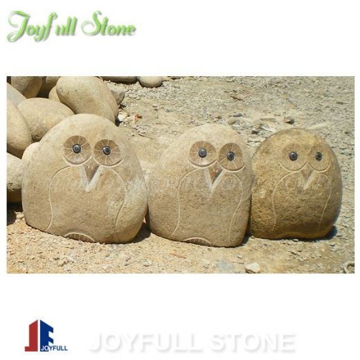 River stone owls cobble stone owls