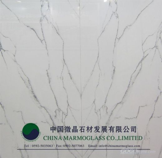Crystallized Marmoglass Carrara White Color