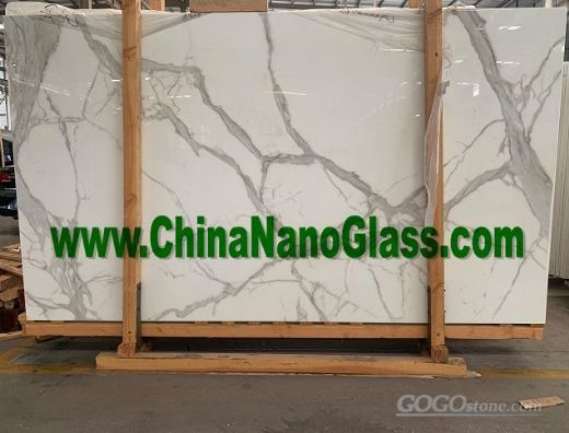 Calacatta Nano Crystal Glass Slab 2800x1600mm