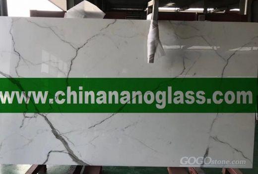 Calacatta White Marble Nano Glass