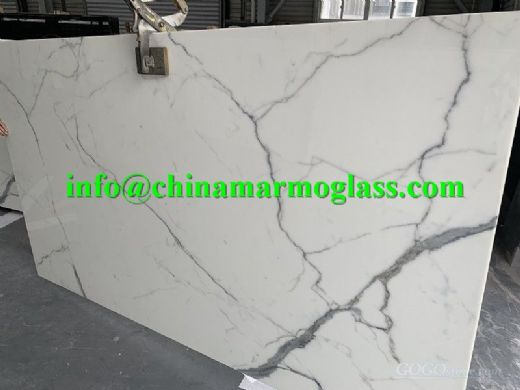 calacatta nano glass slab
