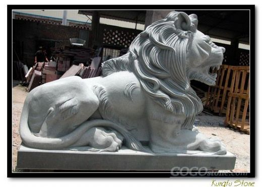 grey granite lion sculpture