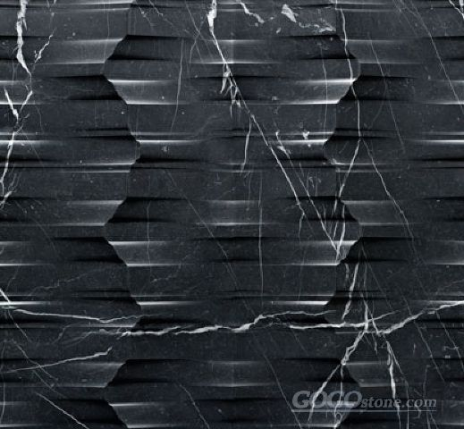 3D Black marquina marble feature wall tile