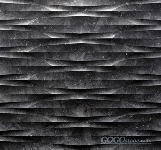 Natural stone 3d black marble wall art tile