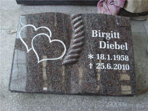 european style book shape gravestone