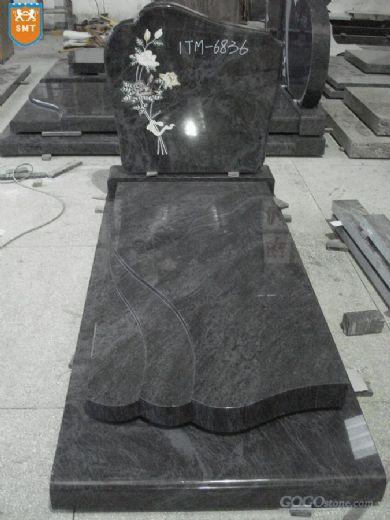 European Style Polished bahama blue granite headstone
