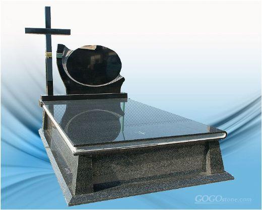 European style black granite angel headstones