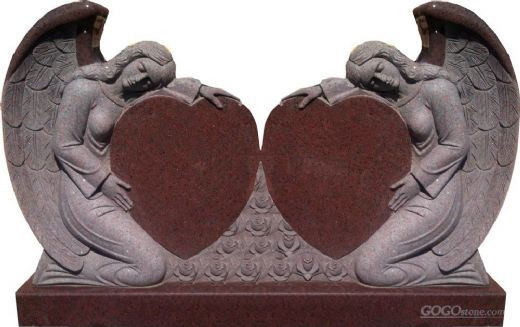 double heart granite double angel monuments