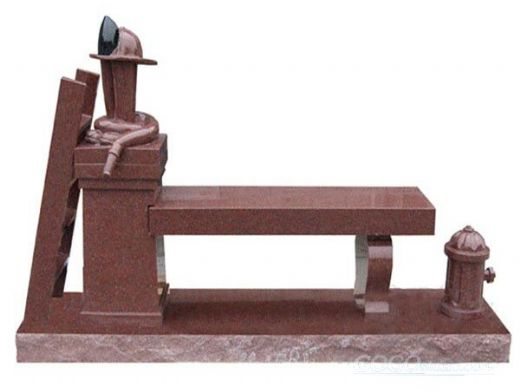 india red granite headstone with bench